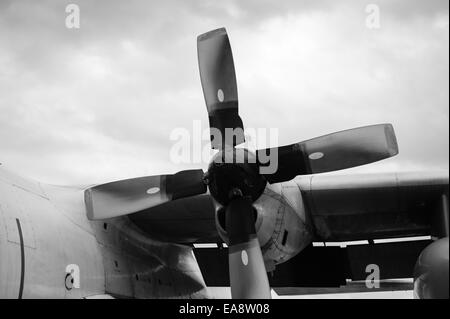 Propeller of an Egyptian Airforce C130 on display at the Malta International Airshow 2014 - Stock Image