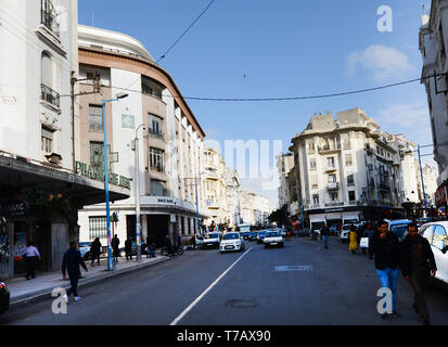 Beautiful old colonial French buildings on Boulevard de Paris in Casablanca. - Stock Image