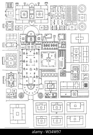 Plan of the monastery St. Gallen (9th century), ,  (cultural history book, 1875) - Stock Image