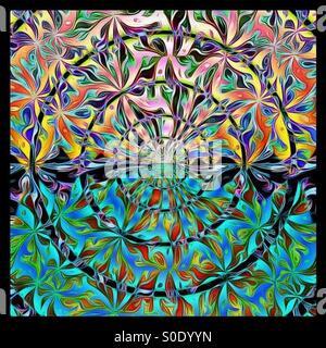 Vibrant rainbow mandala - Stock Image