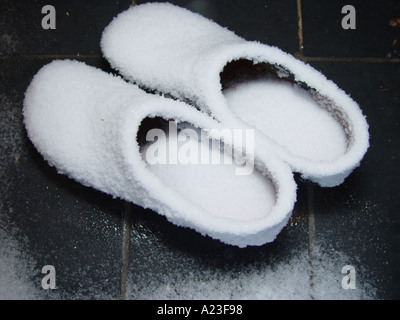 Wooden shoes with rime in winter - Stock Image