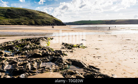 Daymer Bay beach in North Cornwall at low tide, in bright sunlight and people strolling in the distance. - Stock Image