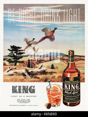 1943 U.S. Magazine King Black Label Whisky Ad - Stock Image