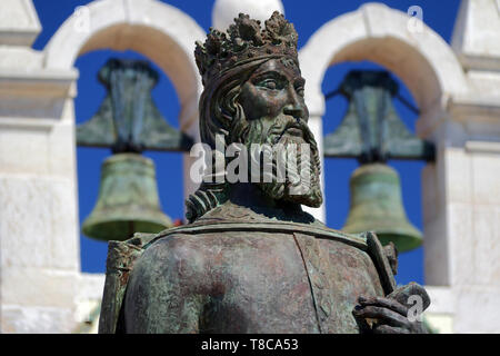 A statue of Don Pedro in Cascais in Portugal - Stock Image
