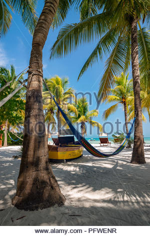 Holbox island : on the beach (Mawimbi hotel) - Stock Image