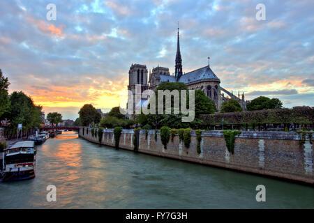 Notre Dame de Paris at Sunset, France - Stock Image