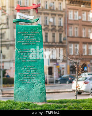 Wroclaw, Poland, March 2019. Memorial to the Hungarian anticommunist revolution, uprising of October 1956, - Stock Image