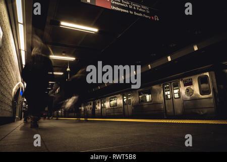 Stationary New York Subway Train - Stock Image