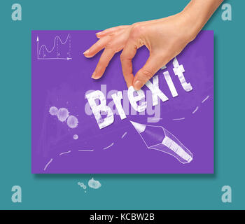 A hand picking up a Brexit concept on a colorful drawing board. - Stock Image