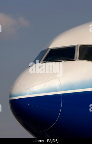 nose and windshield on Boeing 777-240LR at the 2005 Paris AirShow, Salon-du-Bourget - Stock Image