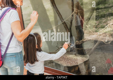 Young mom shows animal to her little daughter in zoo.Happy mother and daughter moments with love and natural emotion.Photo of young mother and her dau - Stock Image