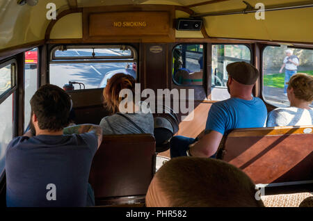 A preserved vintage United Bus Company Bristol BGL29 bus interior during a demonstration run at Marske by the Sea North Yorkshire England - Stock Image