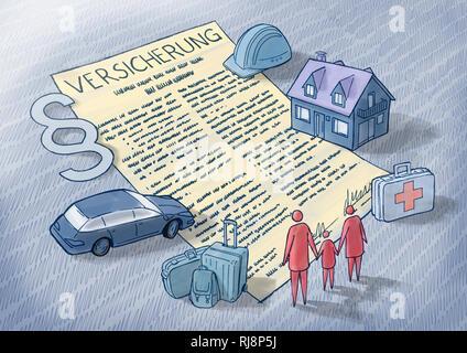 Illustration eines Versicherungsvertrags mit Zeichnungen der unterschiedlichen Versicherungssparten wie Immobilien, Arbeit, Familie, Krankenkasse, Rec - Stock Image