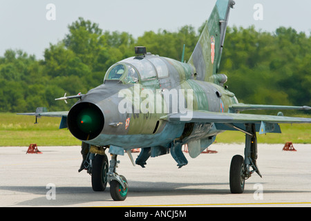Croatian Air Force MiG-21 UMD on apron - Stock Image