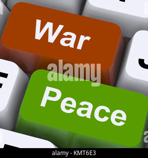 Peace War Keys Showing No Conflict Or Aggression - Stock Image