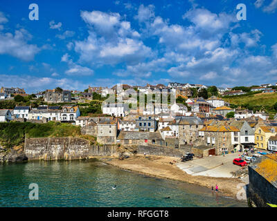 29 June 2018: Port Isaac, Cornwall, UK - Port Isaac, where the Doc Marten TV series is filmed, Cornwall, UK, during the summer heatwave. - Stock Image