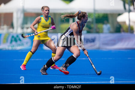Krefeld, Germany, June 16 2019, hockey, women, FIH Pro League, Germany vs. Australia:  Nike Lorenz (Germany) drives the ball. - Stock Image