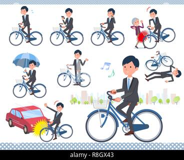 A set of businessman riding a city cycle.There are actions on manners and troubles.It's vector art so it's easy to edit. - Stock Image