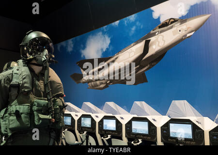 Jerusalem, Israel. 26th June, 2019. 'Our IDF' exhibition opens at the First Station in Jerusalem featuring armored combat vehicles, an F16 fighter jet, an audio video presentation and combat simulators based on virtual reality. The conscription based IDF, considered in Israel the 'people's army', opens its doors to the public free of charge fulfilling its role in creating a close bond with the public. Credit: Nir Alon/Alamy Live News. - Stock Image