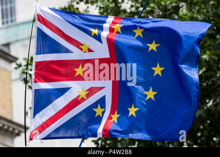 London, UK. 23 June 2018.Anti-Brexit march and rally for a People's Vote in Central London. Flag made up of - Stock Image