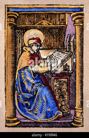 Illustration of a scribe from a Title Page in a Facsimile of William Tyndale's 1525 edition of the English New - Stock Image