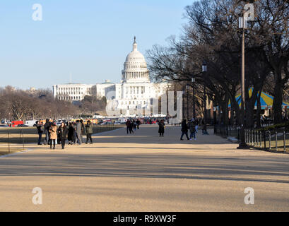 View of US Capitol from the National Mall, Washington DC - Stock Image
