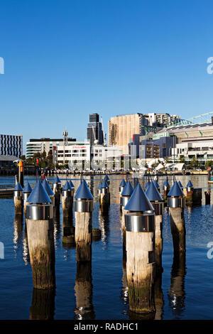 View across Victoria Harbour in Melbourne Docklands,Victoria Australia. - Stock Image