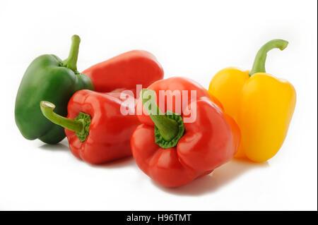 fresh pepper on white background - Stock Image
