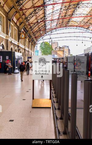 Belmond Venice Simplon Orient Express departure lounge check-in entrance sign at Platform 2 London Victoria Station, London SW1 - Stock Image
