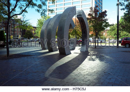 The aluminum sculpture represents the transformations that have taken place in Grove Street over the years. Boise, - Stock Image