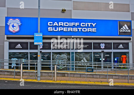 Cardiff City Football Club Stadium at Leckwith on the outskirts of Cardiff. Close up of entrance to the superstore selling sports related clothing - Stock Image