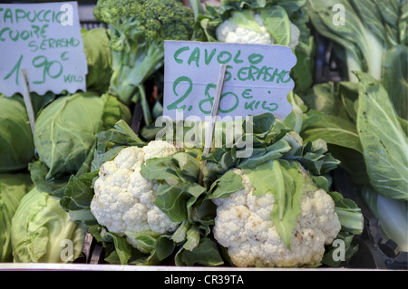 Cauliflowers, Main Food Market Near Rialto Bridge, Venice, Italy - Stock Image