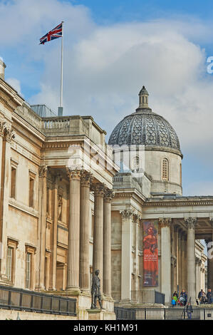 The National Gallery building in Trafalgar Square in London - Stock Image