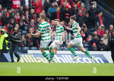 Hampden Park, Glasgow, UK. 14th Apr, 2019. Scottish Cup football, semi final, Aberdeen versus Celtic; James Forrest of Celtic celebrates after scoring for 1-0 in the 45th minute Credit: Action Plus Sports/Alamy Live News - Stock Image