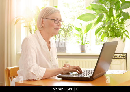 Happy senior woman in her sunny living room in front of her laptop enjoying the benefits of good financial planning - Stock Image