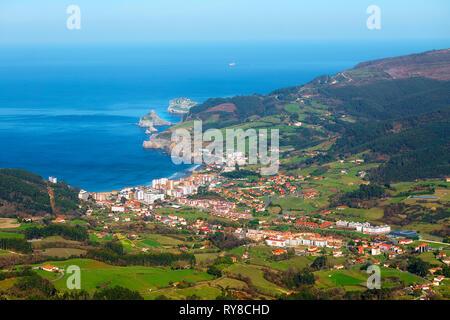 Bakio village from jata mountain - Stock Image