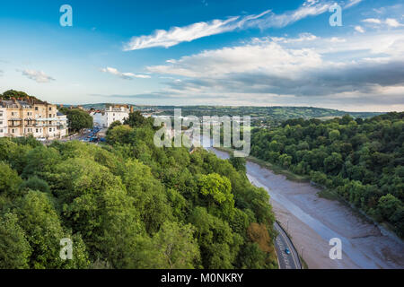 The Avon Gorge with the River Avon flowing in the centre of its highly silted channel from beside the Clifton Suspension - Stock Image