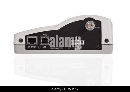 Broadband modem back with ports isolated on a white background - Stock Image