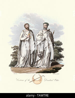 Ancient British Druids. 1815, The Costume of the Original Inhabitants of the British Islands, by MEYRICK, Samuel Rush and SMITH Charles Hamilton. A dr - Stock Image