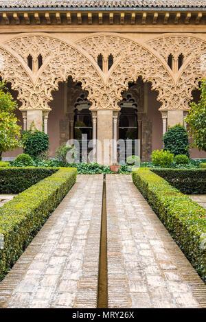 Patio of Saint Isabel, Aljaferia palace, Zaragoza, Aragon, Spain, Europe - Stock Image