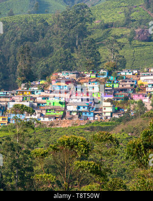 Vertical view of the colourful New Colony in Munnar, India. - Stock Image
