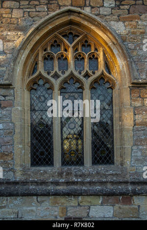 Mathern, Monmouthshire, window in St. Tewdric's church. - Stock Image