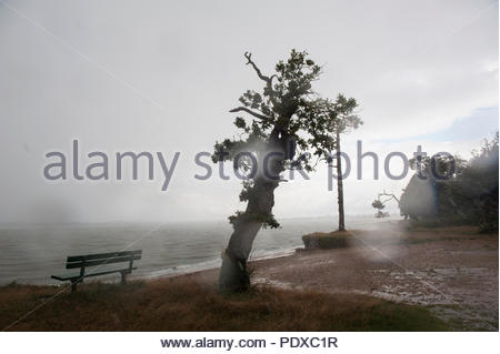 Southampton UK 10th August 2018  It never rains but it pours. After weeks of drought thunder storms with strong winds whip along the South Coast. Along Weston Shore in Southampton a dark thunder storm sheds its rain in a deluge. Credit: Richard Wareham Fotografie/Alamy Live News - Stock Image