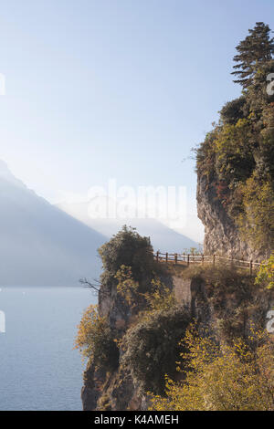 Beautiful Views Can Be Enjoyed From The Old Ponale Road, Which Leads Us To Lake Ledro To Lake Garda - Stock Image