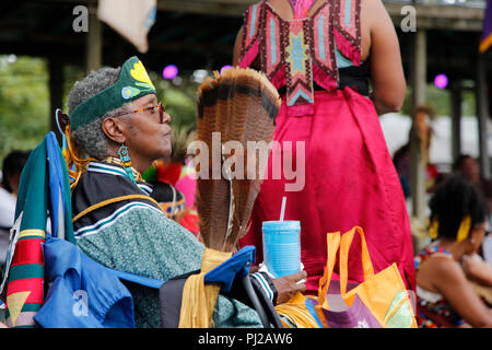 Southhampton, United States of America. 03rd, Sep 2018. Traditional Native American watching the Native American dance 72nd annual Shinnecock Indian Powwow over the Labour Day weekend in Southampton Long Island New York in Southhampton, United States of America, 03 September 2018. (PHOTO) Alejandro Sala/Alamy News - Stock Image