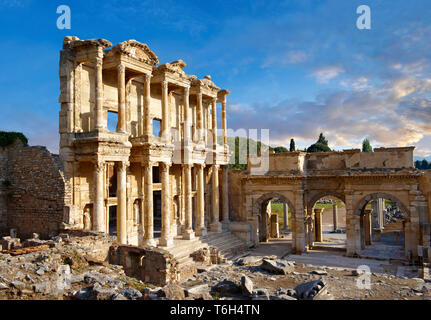 The ancient Library of Celsus , a Roman building ruins in Ephesus, Anatolia, Turkey - Stock Image