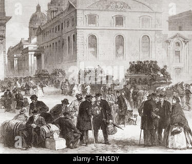 Pensioners leaving the Greenwich hospital.  The Greenwich Hospital was a permanent home for retired sailors of the Royal Navy, which operated from 1692 to 1869.  From The Illustrated London News, published 1865. - Stock Image