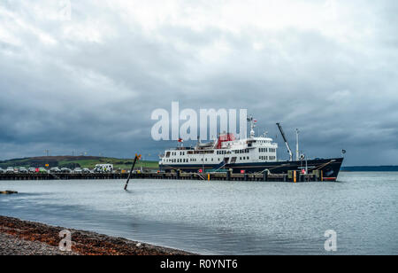 The MV Hebridean Princess, a small luxury cruise ship, berthed at the pier at Largs, a seaside resort in the Firth of Clyde, on a November morning. Is - Stock Image