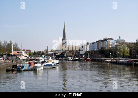 St Mary Redcliffe church across the floating harbour in Bristol, UK - Stock Image