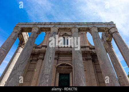 Rome, Italy - 24 June 2018:The ancient ruins of  Temple of Antoninus and Faustina at Palatine Hills, Roman Forum in Rome - Stock Image